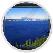 Crater Lake Through Our Window Round Beach Towel