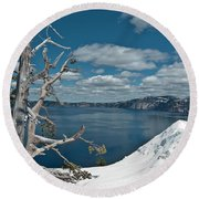 Crater Lake Tree Round Beach Towel