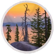 Crater Lake Trees Round Beach Towel by Inge Johnsson