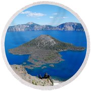 Crater Lake Wizard Island Round Beach Towel