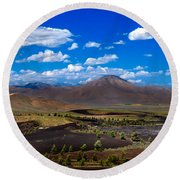 Craters Of The Moon Round Beach Towel by Robert Bales
