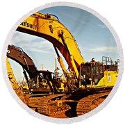 Crawler Excavator - Komatsu - Digger - Machinery Round Beach Towel