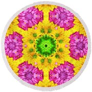 Crazy Daises - Spring Flowers - Bouquet - Gerber Daisy Wanna Be - Kaleidoscope 1 Round Beach Towel
