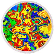 Crazy Day Abstract In Primary Colors  Round Beach Towel
