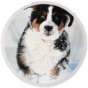 Crazy For Snow Round Beach Towel