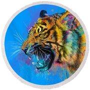 Crazy Tiger Round Beach Towel by Olga Shvartsur