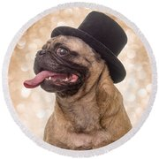 Crazy Top Dog Round Beach Towel