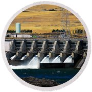 The Dalles Dam Round Beach Towel