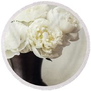 Cream Peonies In A Rustic Vase Round Beach Towel