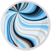 Creamy Blue Graphic Round Beach Towel
