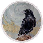 Creation - A Raven Round Beach Towel