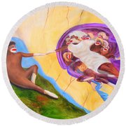 Creation Of A Sock Monkey Round Beach Towel
