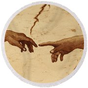 Creation Of Adam Hands A Study Coffee Painting Round Beach Towel
