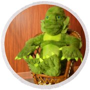 Creature From The Groovy Lagoon Round Beach Towel