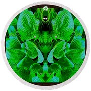 Creatures In The Green Fauna Round Beach Towel