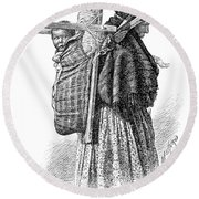 Cree Indian Squaw And Papoose Round Beach Towel