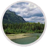 Creek Along Mountains, Mcdonald Creek Round Beach Towel