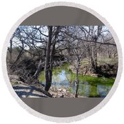 Creek In North Texas Round Beach Towel
