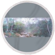 Creek In The Forest Round Beach Towel