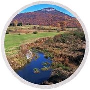 Creek In The Valley Round Beach Towel