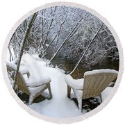 Creekside Chairs In The Snow 2 Round Beach Towel