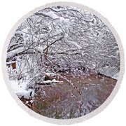 Creekside In The Snow 2 Round Beach Towel