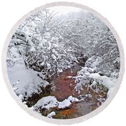 Creekside In The Snow 3 Round Beach Towel