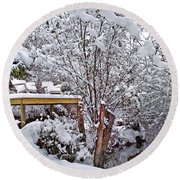 Creekside In The Snow Round Beach Towel
