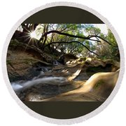 Creekside Sunrise Round Beach Towel