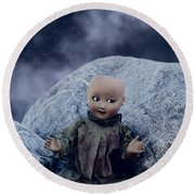 Creepy Doll Round Beach Towel