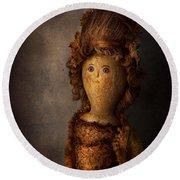 Creepy - Doll - Matilda Round Beach Towel by Mike Savad