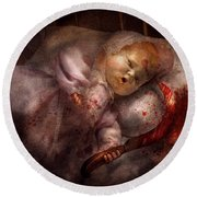 Creepy - Doll - Night Terrors Round Beach Towel