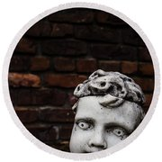Creepy Marble Boy Garden Statue Round Beach Towel