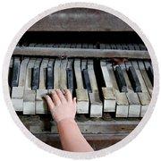 Creepy Piano Baby Round Beach Towel