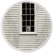 Creepy Victorian Girl Looking Out Window Round Beach Towel