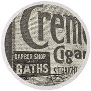 Cremo Cigar In Black And White Round Beach Towel
