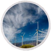 Creosote And Wind Turbines Round Beach Towel