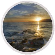 Crepuscular Rays At The Sea Round Beach Towel