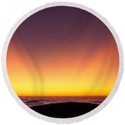Crepuscular Rays In Nantahala National Forest Round Beach Towel