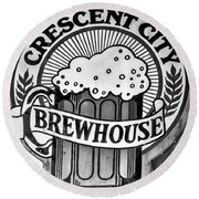 Crescent City Brewhouse - Bw Round Beach Towel