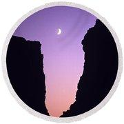 Crescent Moon Between Rock Formations Face Rock Round Beach Towel