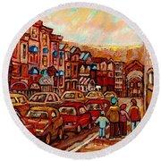 Crescent Street Family Stroll  Montreal City In Autumn City Scene Paintings Carole Spandau Round Beach Towel