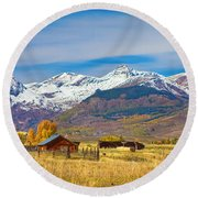 Crested Butte Autumn Landscape Panorama Round Beach Towel