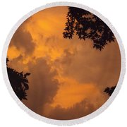 Cresting The Storm Clouds Round Beach Towel
