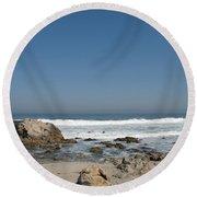 Crestwaves On A California Beach Round Beach Towel