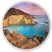 Cretan Coastline. Round Beach Towel