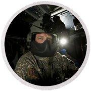 Crew Chief In A Uh-60 Black Hawk Round Beach Towel
