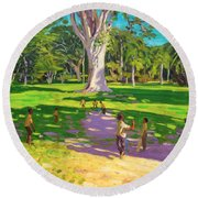 Cricket Match St George Granada Round Beach Towel by Andrew Macara