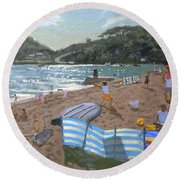 Cricket Teignmouth Round Beach Towel by Andrew Macara