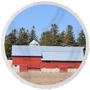 Crimson Barn Round Beach Towel